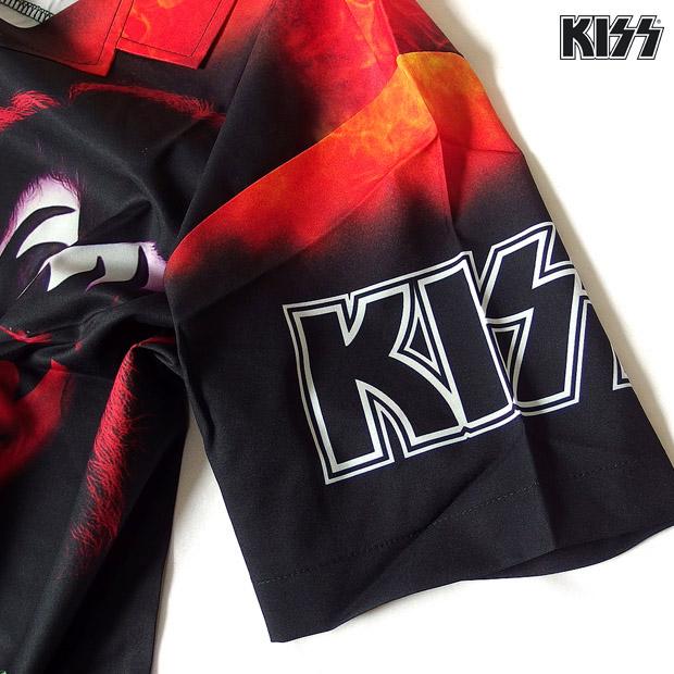 KISS キッス シャツ 半袖 グッズ メンズ ブラック 総柄 プリント 派手 ボタン アロハシャツ バンド メンバー アパレル