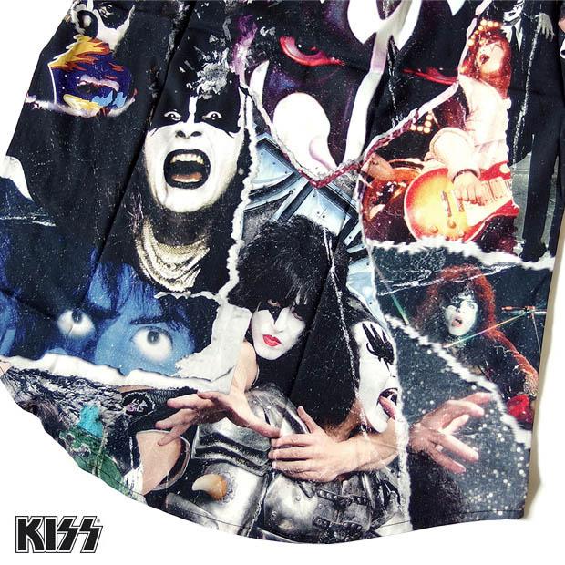 KISS キッス シャツ 半袖 グッズ メンズ ブラック 総柄 コラージュ プリント 派手 ボタン アロハシャツ バンド メンバー アパレル