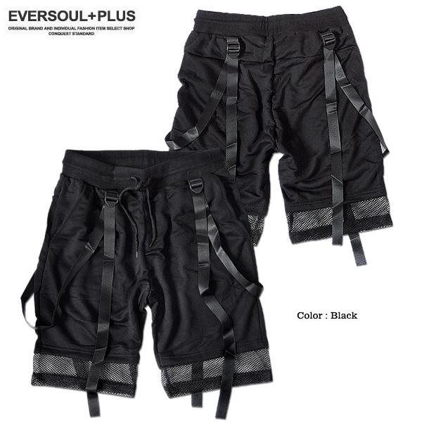 EVERSOUL PLUS SELECT ショートパンツ メンズ ブラック 黒 コットン ベルト付き サスペ ンダー シースルー メッシュ ビ ジュアル系 モード系 おしゃれ