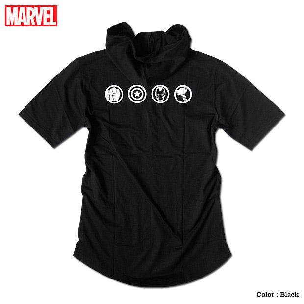 MARVEL アヴェンジャーズ アイアンマン Tシャツ フード付き フーディー ロング丈 ラウンドカット メンズ ロゴ マーベル 半袖 キャラクター アベンジャーズ