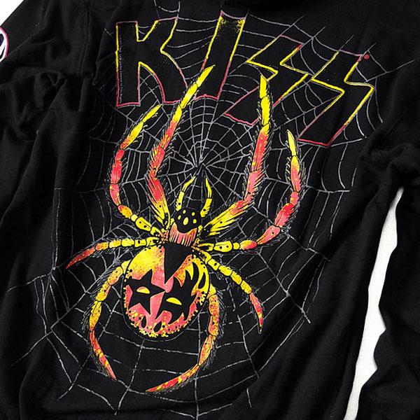 KISS キッス ジップパーカー メンズ 裏起毛 ジップアップ パーカー 袖 プリント バンド グッズ 大きいサイズ ゆったり