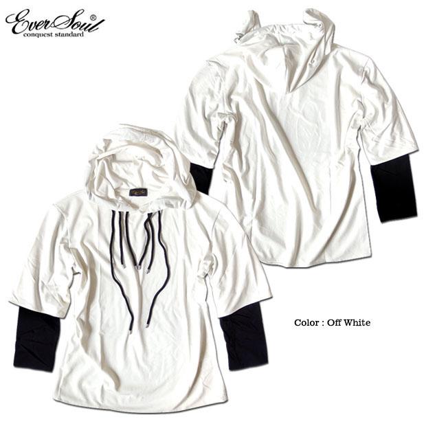 EVERSOUL カットソー メンズ フード付き Tシャツ 長袖 フーディー ロンT レイヤード モード パンク バンド 衣装