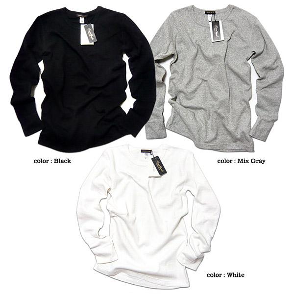 サーマル ロンT Tシャツ メンズ 無地 長袖 カットソー ワッフル ヘビーウェイト 厚手 ブラック 黒 白 ロングスリーブ 綿 コットン