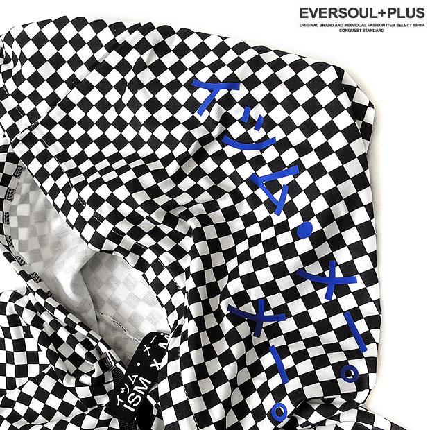 ISMxM パーカー ロンT カットソー 原宿系 モード系 チェック柄 メンズ ワイドシルエット オーバーサイズ