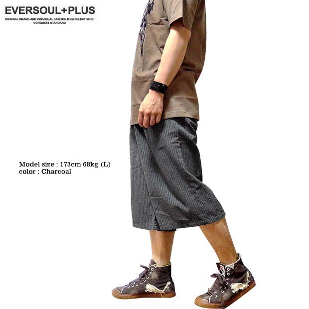 EVERSOUL PLUS SELECT ショートパンツ ワイドシルエット メンズ ワイドパンツ ガウチョパンツ ストライプ ベルト付き ハーフパンツ