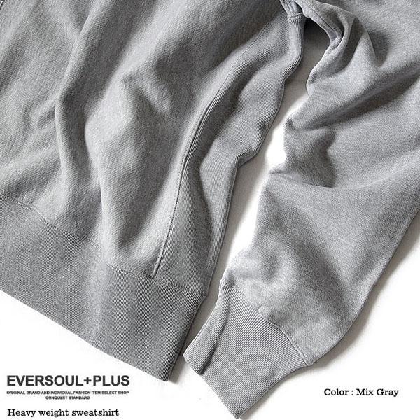 EVERSOUL+PLUS トレーナー メンズ スウェット 裏起毛 ヘビーウェイト 厚手 無地 オーバーサイズ 杢グレー ネイビー ブラック ホワイト トレーナ