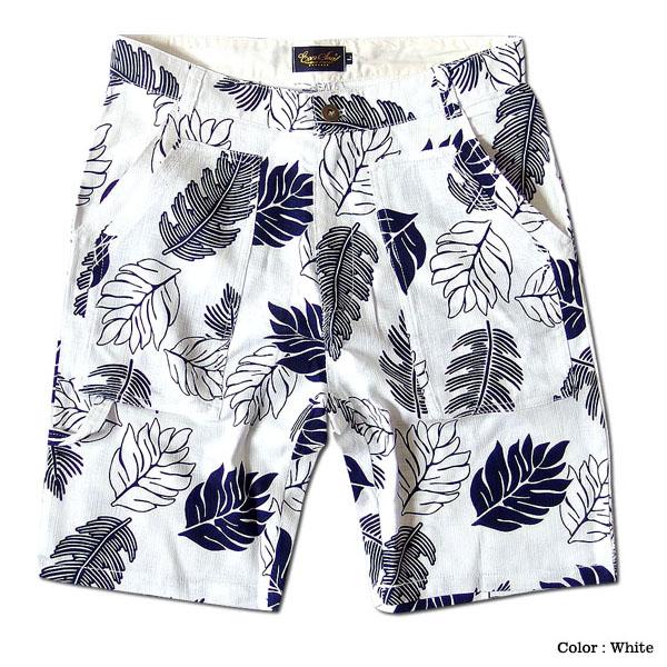 EVERSOUL ショートパンツ メンズ ボタニカル 総柄 リゾート 花柄 ハーフパンツ プリペラ 麻 おしゃれ 夏 ポケット ホワイト