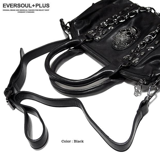 EVERSOUL PLUS SELECT ハンドバッグ レディース メンズ ユニセックス ショルダーバッグ スカル スタッズ チェーン フェイクレザー 2WAY ゴスロリ