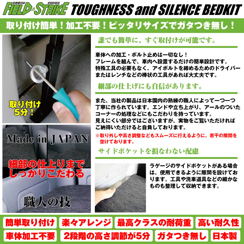 【硬質マットタイプ/ロングサイズ】Field Strike ベッドキット エブリイワゴン DA17 W (H27/2-)長さ1730mm!
