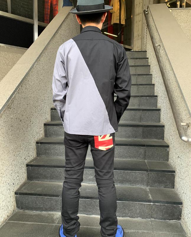 """""""1977"""" スラントライン 2トーンシャツ"""