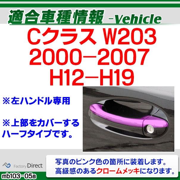 ri-mb103-05 ドアハンドル(左ハンドル用) Cクラス W203(2000-2007 H12-H19)MercedesBenz メルセデスベンツ クロームメッキランプトリム ガーニッシュ カバー ( バイク用品 外装パーツ)