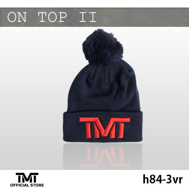 tmt-h84-3vr THE MONEY TEAM ザ・マネーチームON TOP II ニット( 紺ベース x 赤ロゴ) 刺繍( フロイド・メイウェザー TMT メイウェザー ボクシング グッズ ストリート 帽子 メンズ tmtキャップ ロゴ ニット帽 ニットキャップ 格闘技 )