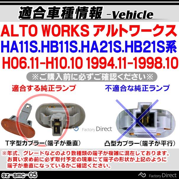 ll-sz-smc-cr05 クリアレンズ ALTO WORKS アルトワークス(HA11S.HB11S.HA21S.HB21S系 H06.11-H10.10 1994.11-1998.10)サイドマーカー ウインカーランプ ( カスタム パーツ led ウインカー ウィンカー ウインカーレンズ マーカー ランプ )