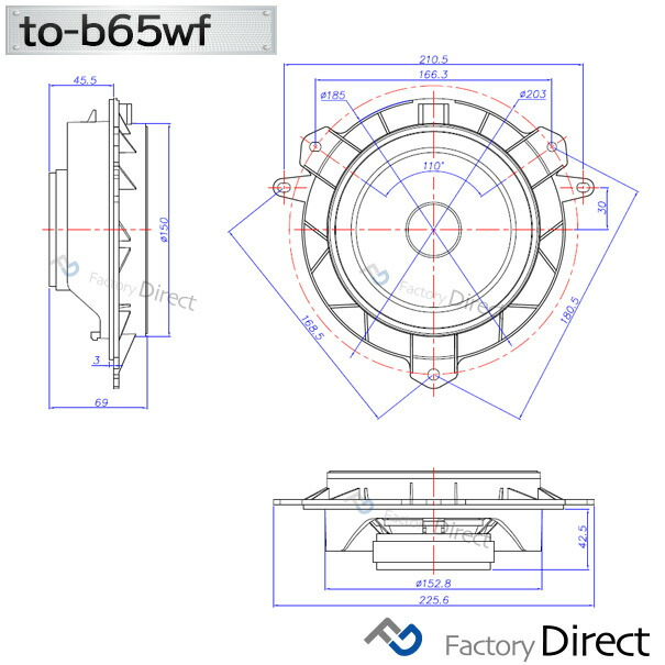 fd-to-b65wf-to07 Aqua アクア (10系前期 H23.12-R01.07 2011.12-2019.07) ※R01.08以降は要端子加工で装着可 )トヨタ純正交換6.5インチ 17cmスピーカー カプラーON トレードイン(Plug and Play 純正交換  カースピーカー スピーカー)