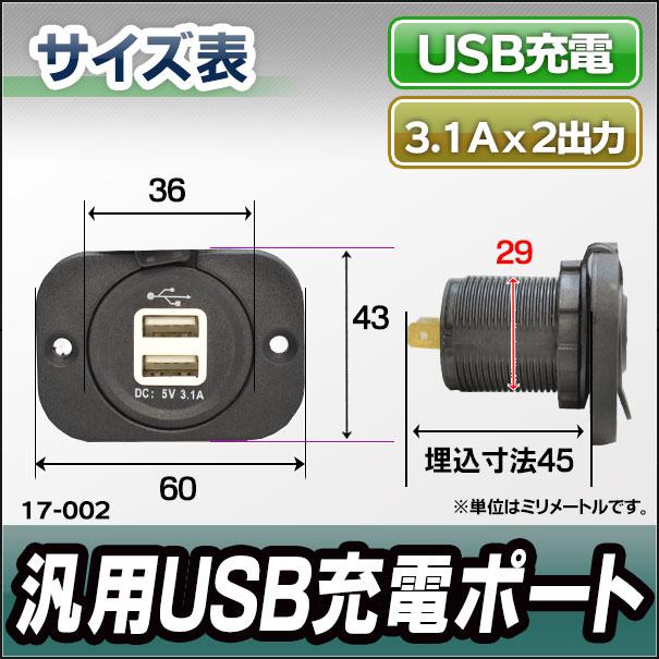 ca-usb17-002 汎用埋め込み型 USB充電ポート3.1A x 2ポート キャンピングカーなどにおすすめ(カスタム 改造 パーツ 増設 車 カスタムパーツ カバー スイッチ 12v カー用品 ホール 車用 アクセサリー)