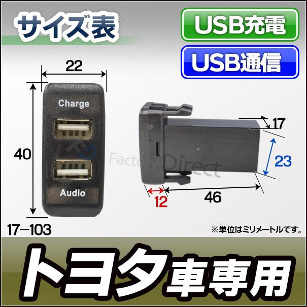 送料無料 USB17-103 トヨタ車系(高さ40mm)USB通信入力ポート&USB充電ポート カーUSBポート(カスタム 改造 パーツ 増設 車 カスタムパーツ カバー スイッチ TOYOTA 12v カー用品 ホール 車用 HDMIポート ドレスアップ アクセサリー)