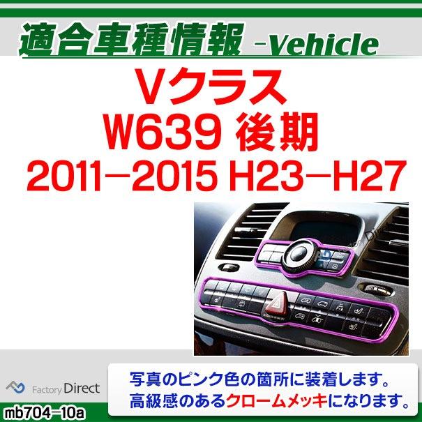 ri-mb704-10(701-10) エアコンパネル用 Vクラス W639(後期 2011-2015 H23-H27)クローム メッキ ランプ トリム ガーニッシュ カバー ベンツ ( カスタム パーツ 車 カスタムパーツ メッキパーツ エアコン )