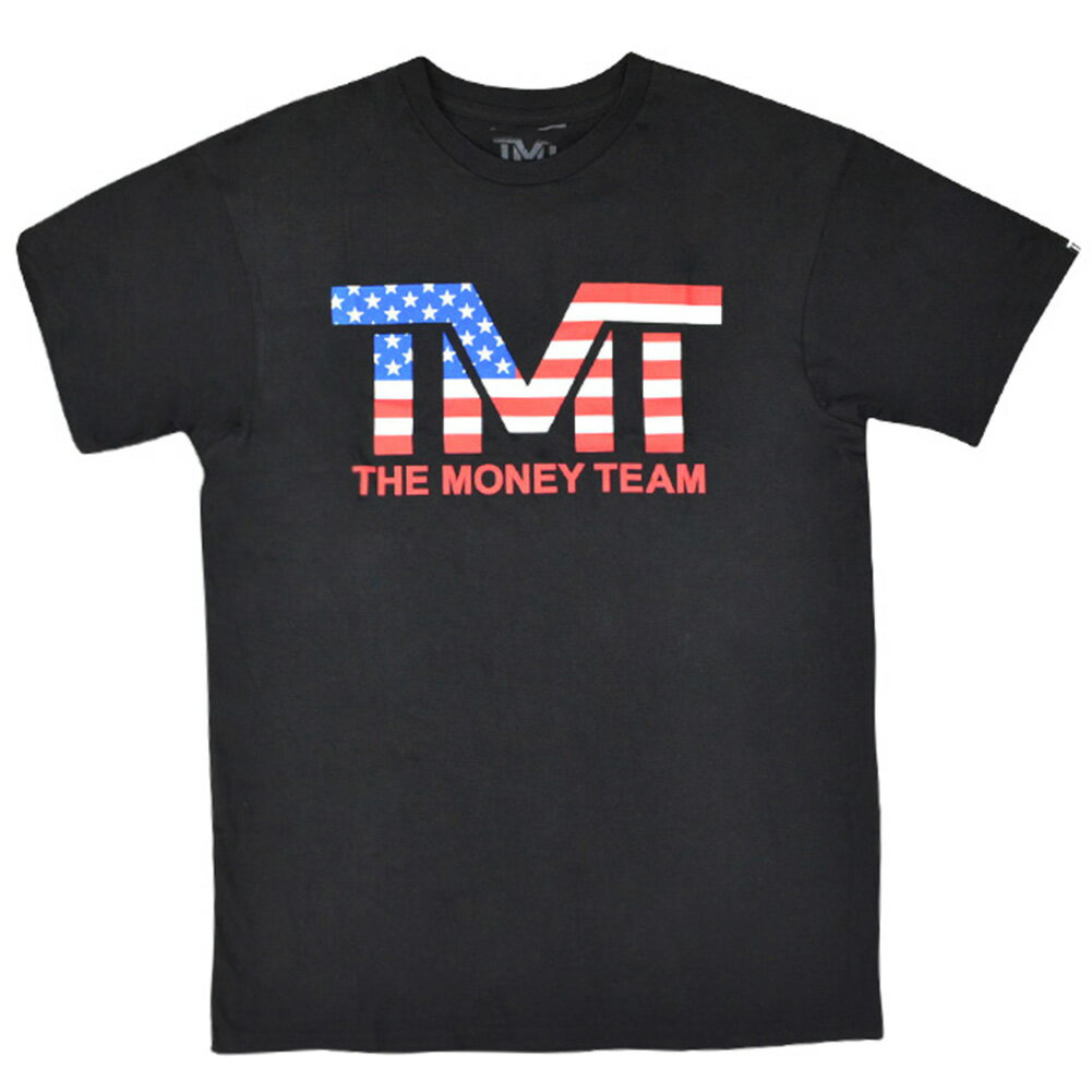 tmt-ms113-k ザ・マネーチーム Tシャツ TMT USA 黒ベース×アメリカ フロイド・メイウェザー ボクシング 男性 メンズ ブラック プリント アメリカ 国旗 THE MONEY TEAM TMT WBC WBA( メイウェザー ティシャツ ティーシャツ )