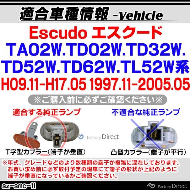 ll-sz-smc-sm11 スモークレンズ Escudo エスクード(TA02W.TD02W.TD32W.TD52W.TD62W.TL52W系 H09.11-H17.05 1997.11-2005.05)サイドマーカー ウインカーランプ(カスタム パーツ スズキ led ウインカー ウインカーレンズ マーカー ランプ)