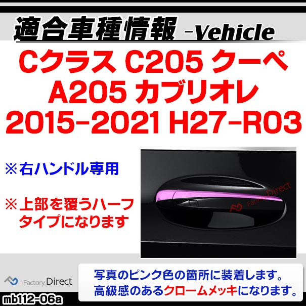 ri-mb112-06 ドアハンドル(右ハンドル)用 Cクラス C205 A205 (2ドアクーペ 2015-2021 H27-R03)クロームメッキトリム Mercedes Benz メルセデス ベンツ ガーニッシュ カバー