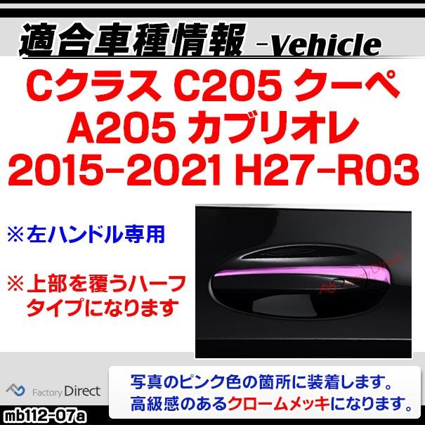 ri-mb112-07 ドアハンドル(左ハンドル)用 Cクラス C205 A205 (2ドアクーペ 2015-2021 H27-R03)クロームメッキトリム Mercedes Benz メルセデス ベンツ ガーニッシュ カバー