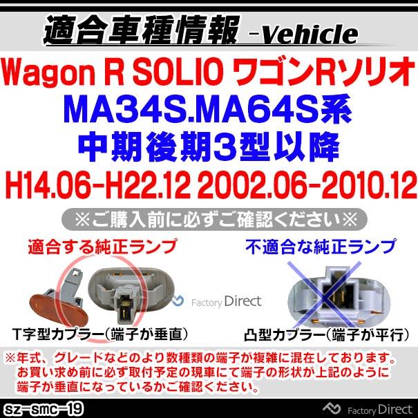 ll-sz-smc-sm19 スモークレンズ Wagon R SOLIO ワゴンRソリオ(MA34S.MA64S系中期後期3型以降 H14.06-H22.12 2002.06-2010.12)サイドマーカー ウインカーランプ(カスタム パーツ スズキ led ウインカー ウインカーレンズ マーカー ランプ)
