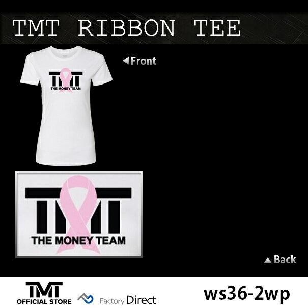 tmt-ws36-2wp ザ・マネーチーム Tシャツ TMT RIBBON TEE 白ベース×ピンクリボン フロイド・メイウェザー ボクシング レディース ホワイト( THE MONEY TEAM WBC アメリカ WBA スポーツ スポーツtシャツ 半袖tシャツ グッズ boxing )