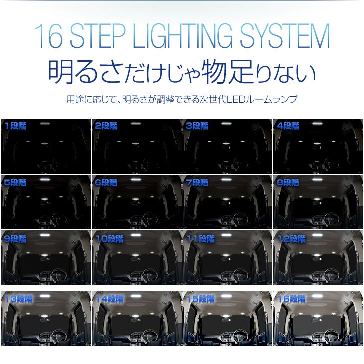 50 エスティマ ACR5# GSR5# H18.1~H28.5 専用 LED ルームランプ セット ホワイト 16段階調整機能 | 室内灯 車内灯 専用設計 トヨタ