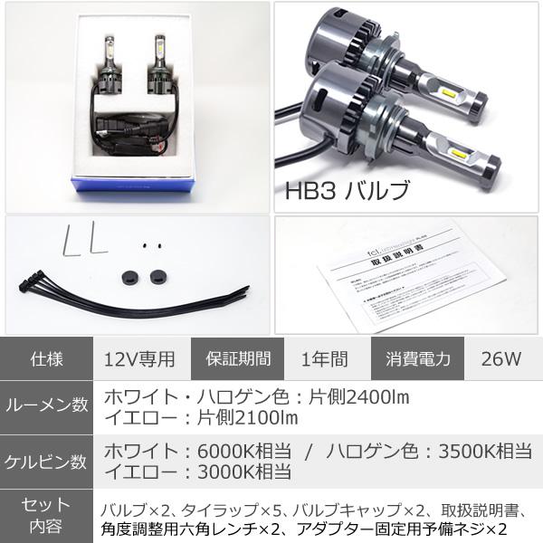 輸入車用 HB3 LED ヘッドライト ハイビーム ファン付き キャンセラーセット ホワイト ハロゲン色 イエロー 車検対応 1年保証