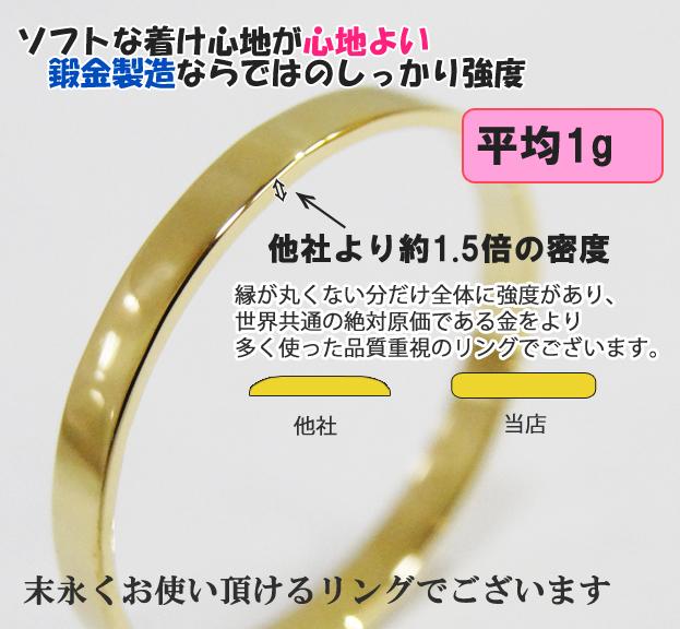 職人手作り リング 18金 2mm幅 指輪 18K【 K18 YG/PG/WG】