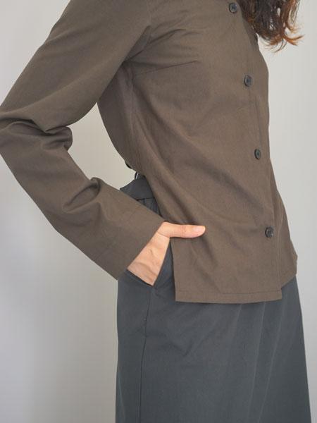 "THE HINOKI / コットン パラシュートクロス セットアップドレス ""olive-brown×black"""