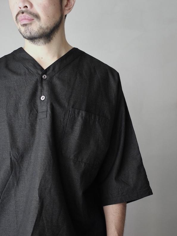 FUJITO /  Henley Neck Shirt Black