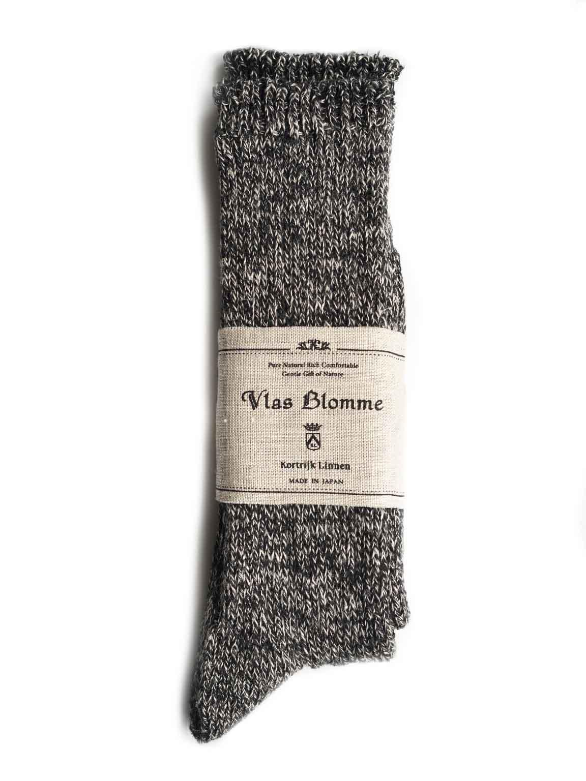 "Vlas Blomme / Linen RIBソックス ""BLACK"""