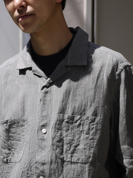 "ENDS and MEANS / box shirts L/S ""Gray"""
