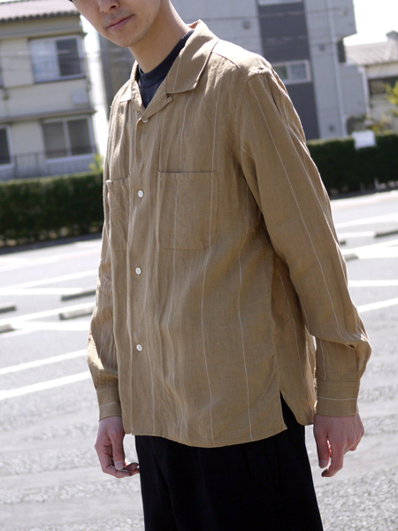 "ENDS and MEANS / box shirts L/S ""Beige"""
