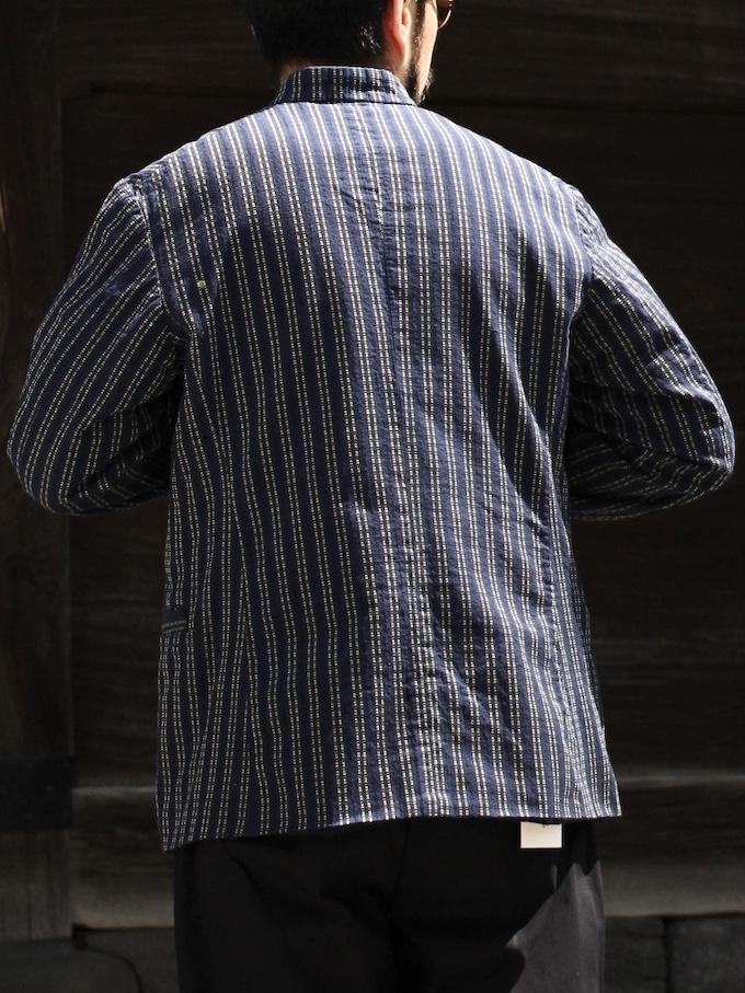 "OUTIL / VESTE TAVAUX ""indigo stripe"""