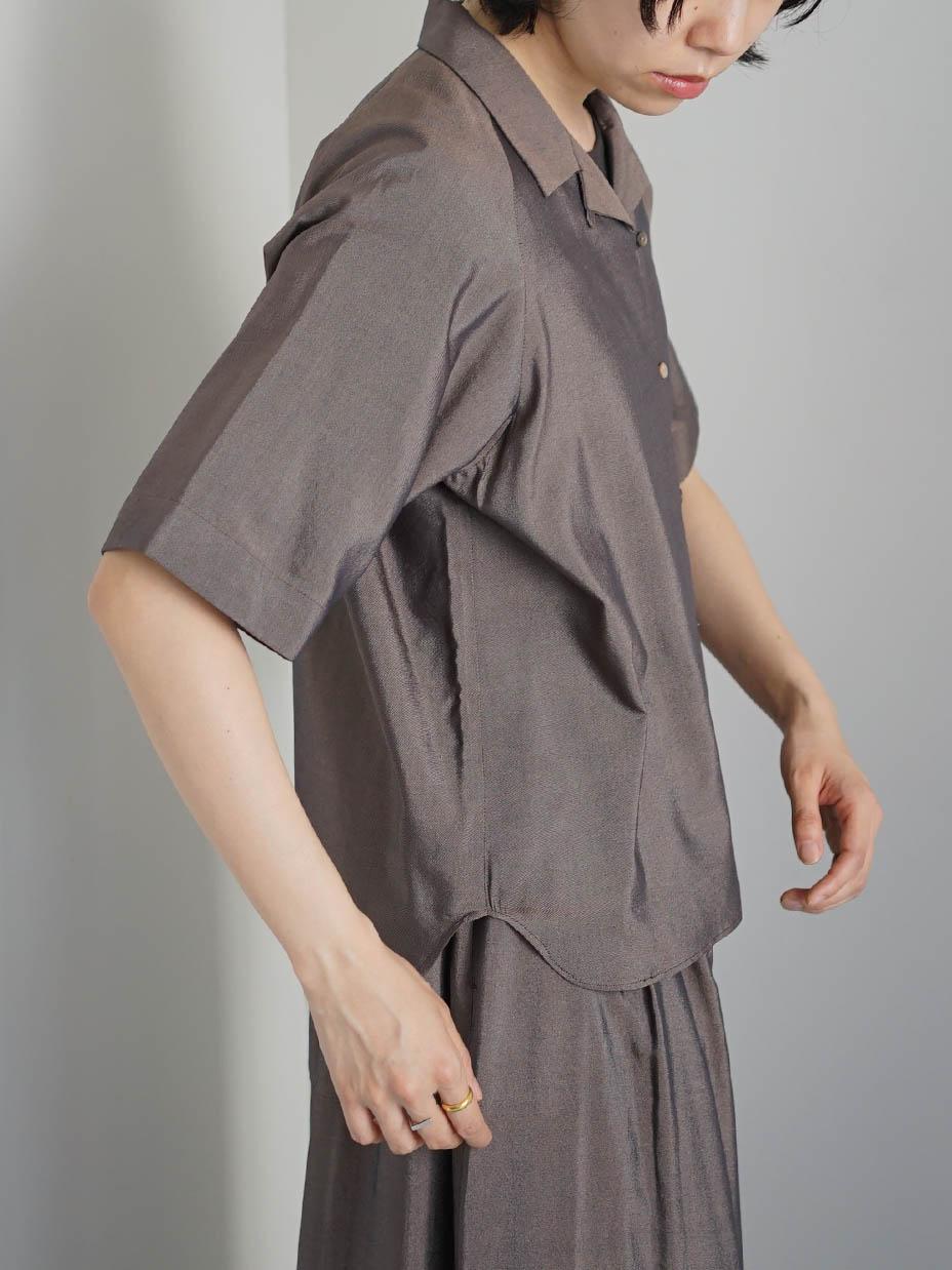 "hatsutoki / オープンカラーシャツ ""ブラウン"""