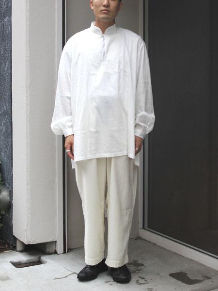 "SOWBOW / SHIRT -C ""MANDARIN COLLAR Pullover"" WHITE"