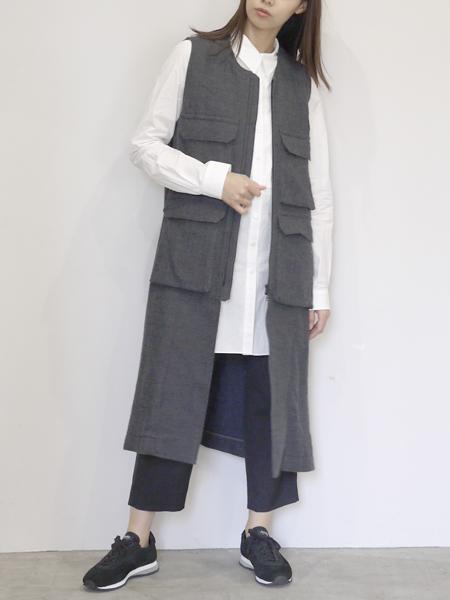 "FIRMUM / wool zip long vest ""charcoal gray"""