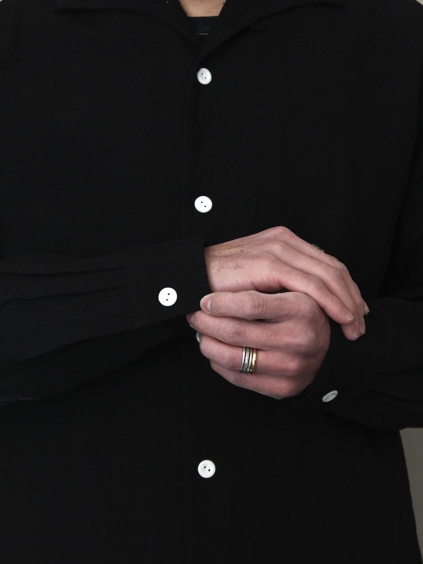"""SOWBOW 蒼氓シャツ / kurume kasuri shirts  """"INK BLACK"""""""