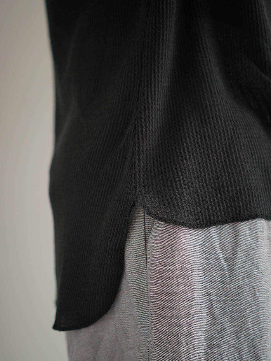"amiu.c / Gauze waffle crew neck half sleeve ""BLACK"""