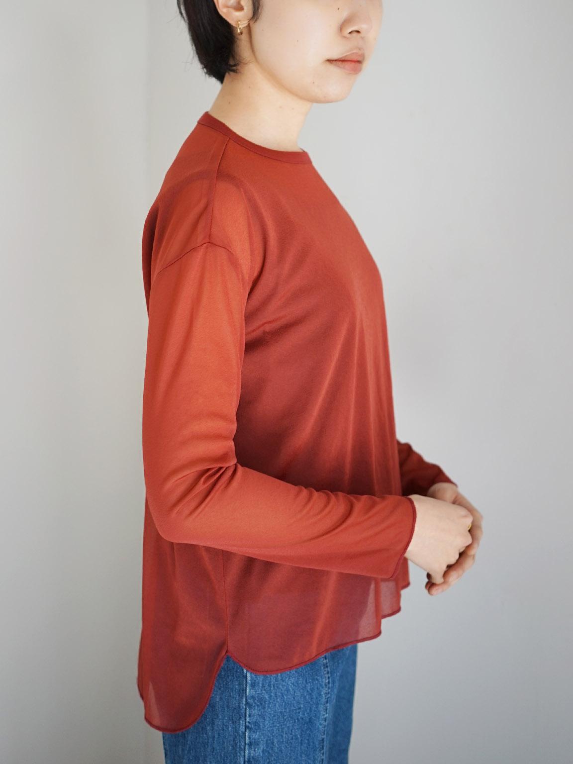 "amiu.c / Sheer crew neck long sleeve ""RED"""