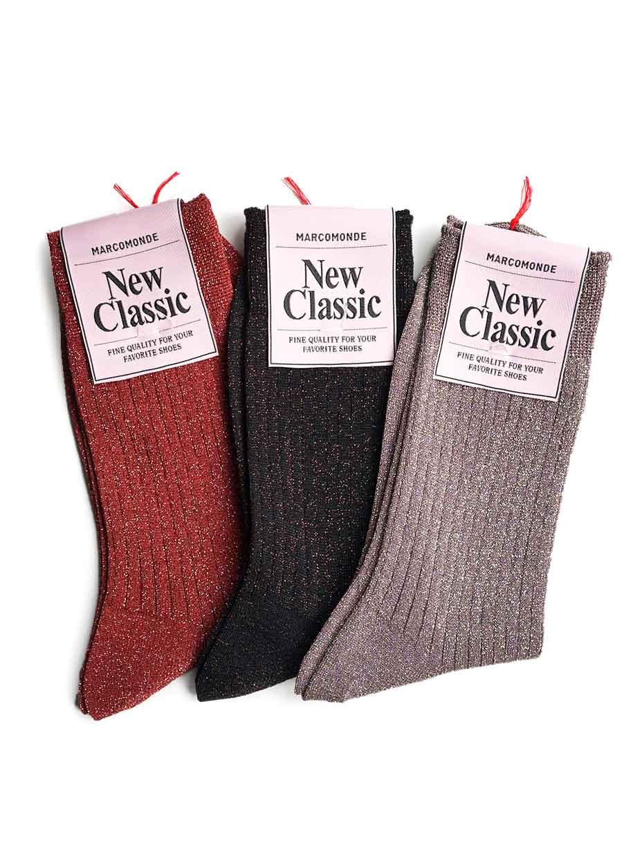 MARCOMONDE / glitter wide rib socks