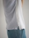 "amiu.c / Gauze waffle×silk half sleeve ""BLUE GRAY"""