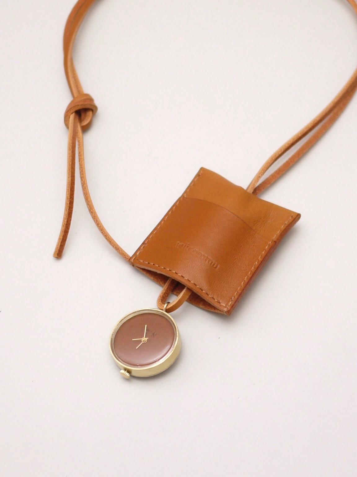 "nejicommu / watch necklace ""HEART BEAT"" BROWN"