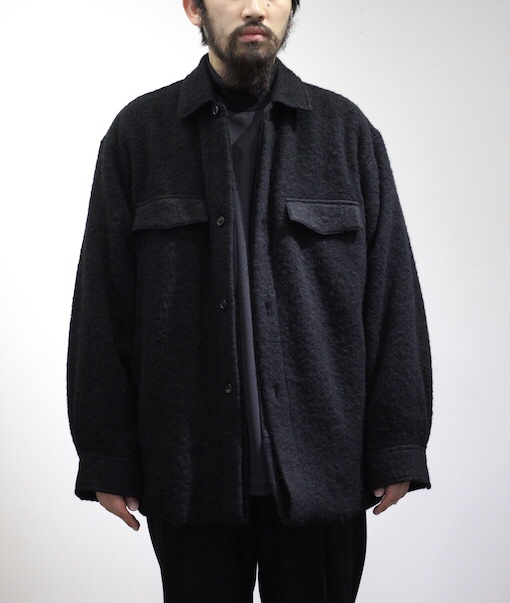 stein/OVERSIZED BLANKET CPO SHIRT JACKET BLACK