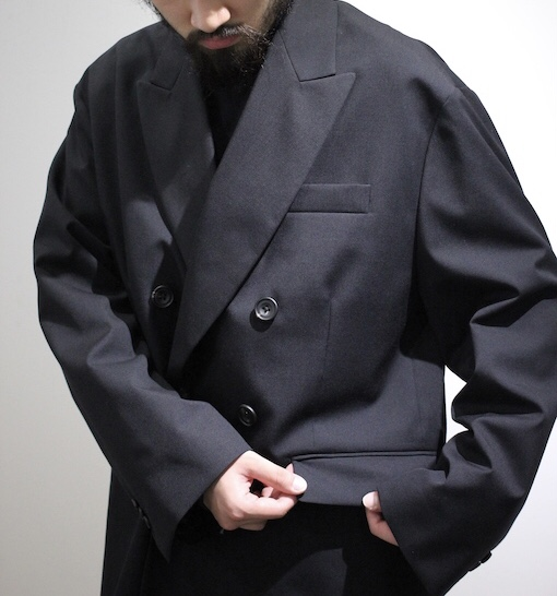 stein/OVERSIZED DOUBLE BREASTED JACKET BLACK