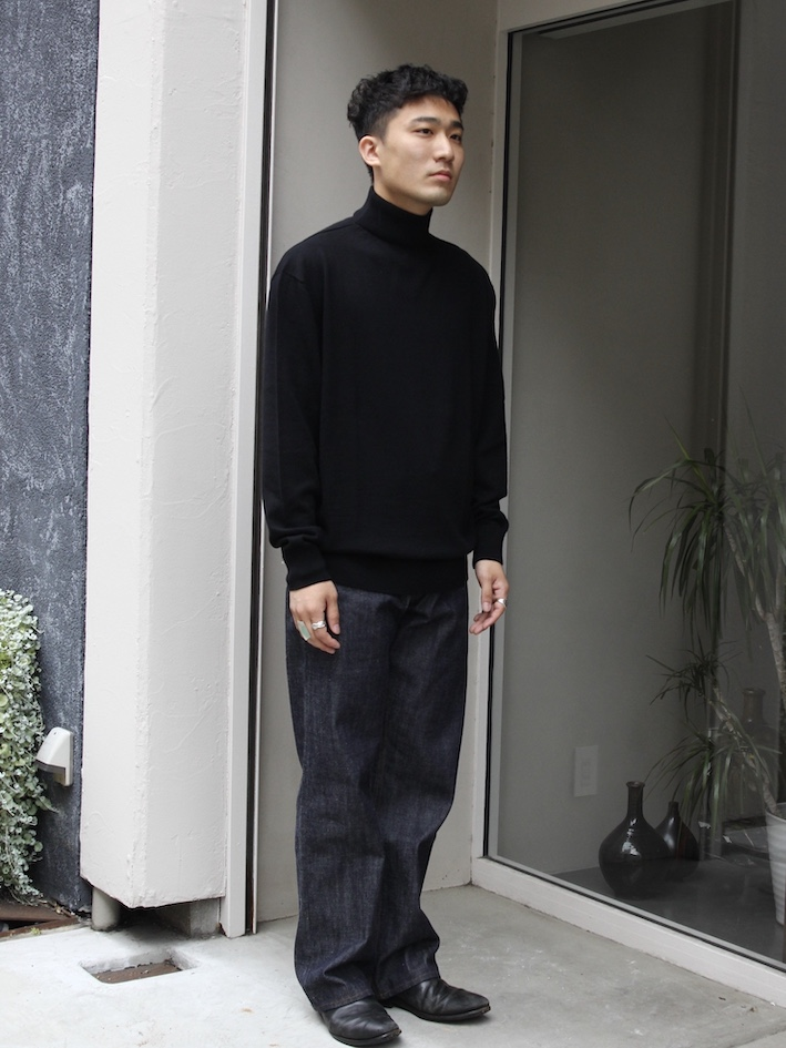 "PETER GEESON /Classic Fit Mock Neck""BLACK"""
