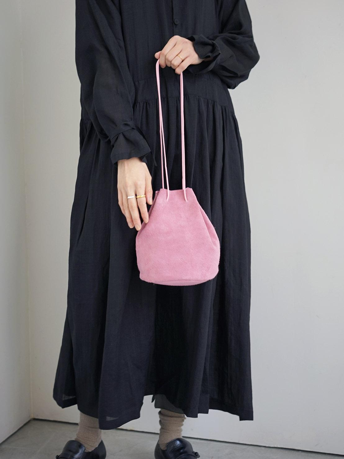 """suede drawstring bag """"pink"""""""