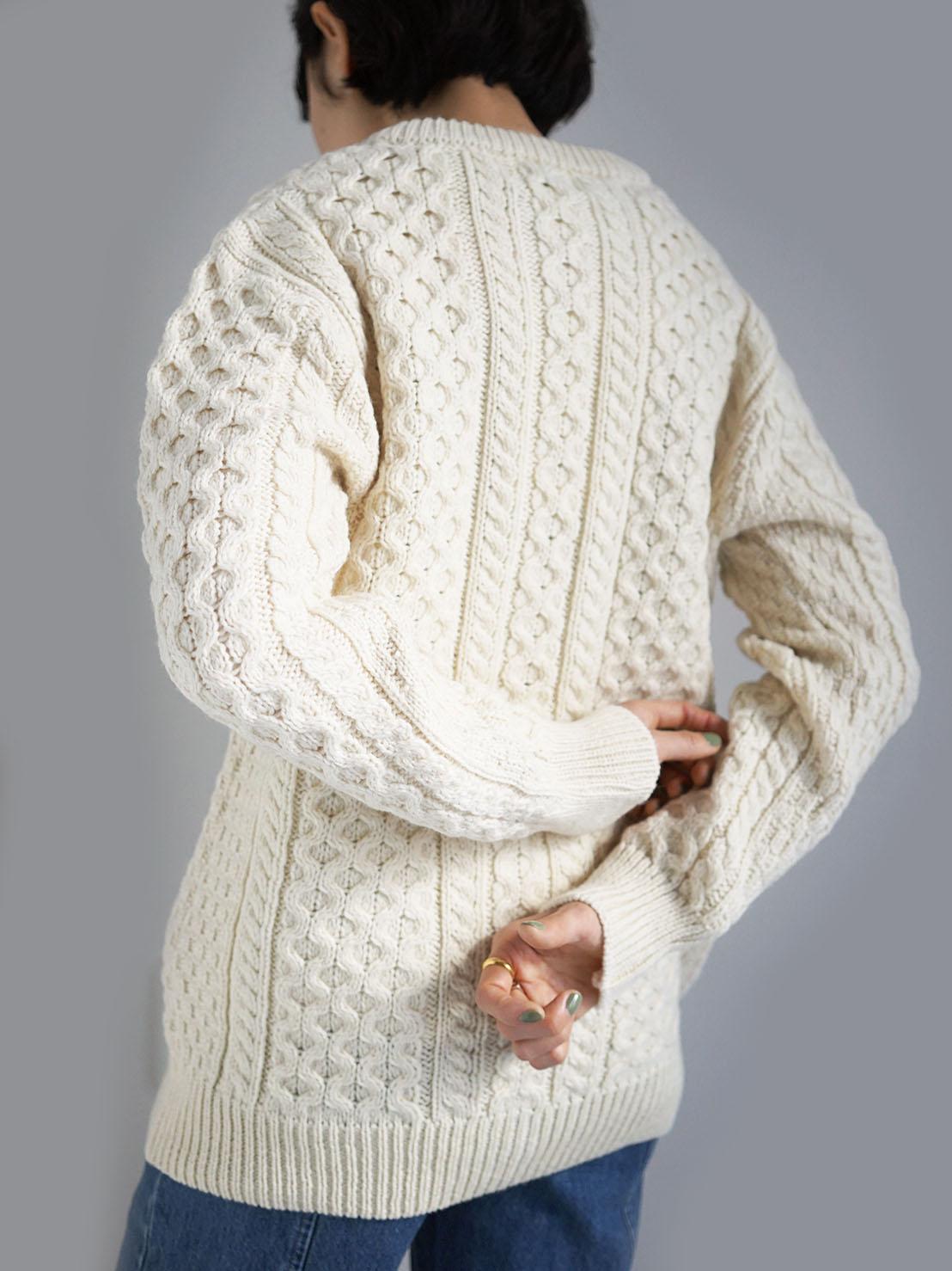 Aran Crafts / merino wool knit cardigan